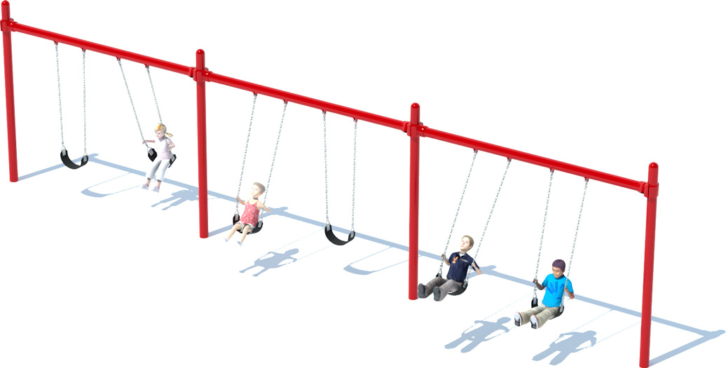3 Bay Single Post Swing Frame - Commercial Playground Equipment