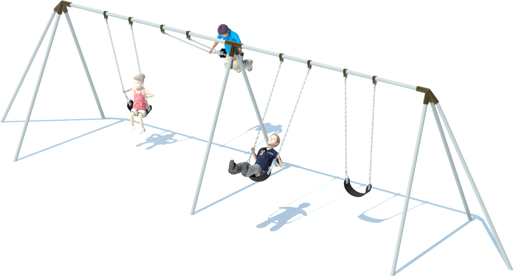 2 Bay Tri-pod Swing Frame | Swing Sets | American Parks Company - Commercial Playground Equipment