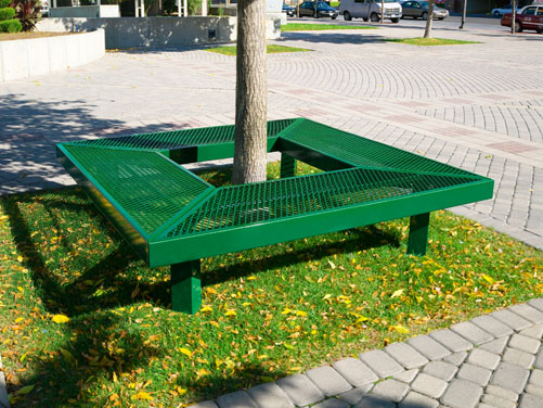 Geometric Mall Bench