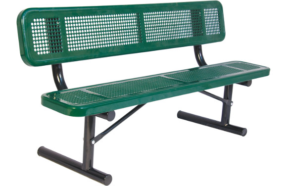 Portable - Perforated Metal Bench with back - Commercial Playground Equipment