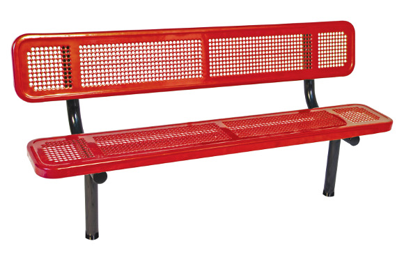 In-ground Mount - Perforated Metal Bench with back - Commercial Playground Equipment