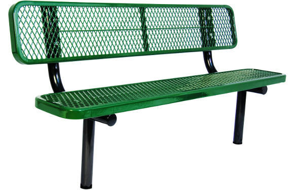 In-ground Mount - Expanded Metal Bench with back - Commercial Playground Equipment