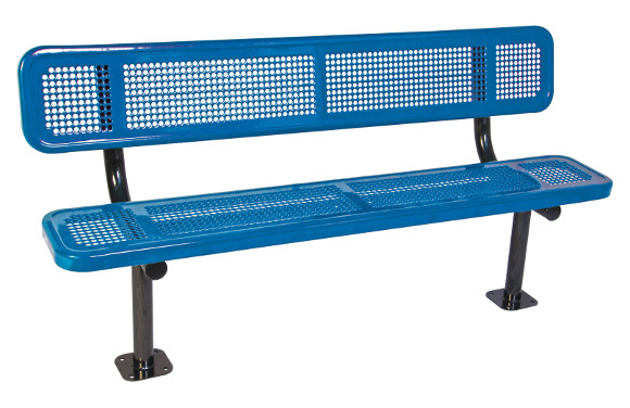 Surface Mount - Perforated Metal Bench with back - Commercial Playground Equipment