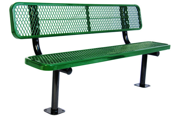 Surface Mount - Expanded Metal Bench with back - Commercial Playground Equipment
