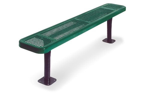 Surface Mount - Perforated Metal Bench w/o Back - Commercial Playground Equipment