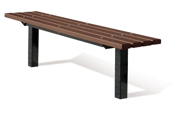 In-ground 2x4 Brown Bollard Style Bench w/out Back - Commercial Park Equipment