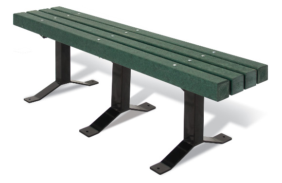 Surface Mount 4x4 Green Bollard Style Bench w/out Back - Commercial Park Equipment
