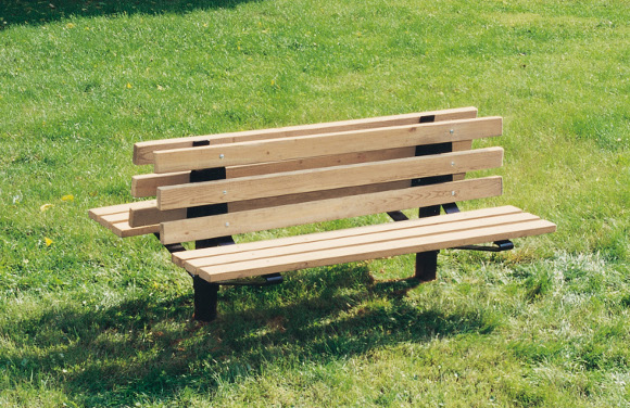 Bollard Style Double Sided Wood Bench - Site Furnishings - American Parks Company