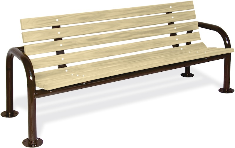 Double Post Contour Wood Bench