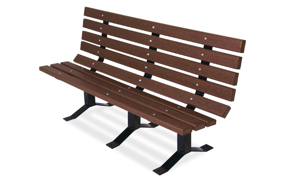 Brown 2x4 Bollard-Style Bench w/ Back - Site Furnishings - American Parks Company