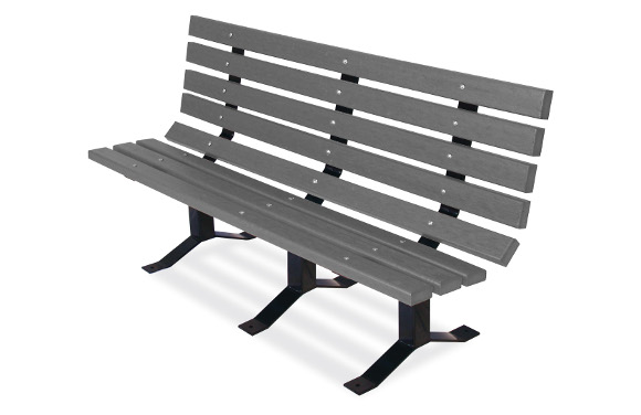 Gray 2x4 Bollard-Style Bench w/ Back - Site Furnishings - American Parks Company