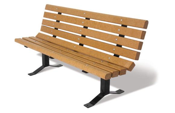Cedar 3x4 Bollard-Style Bench w/ Back - Site Furnishings - American Parks Company