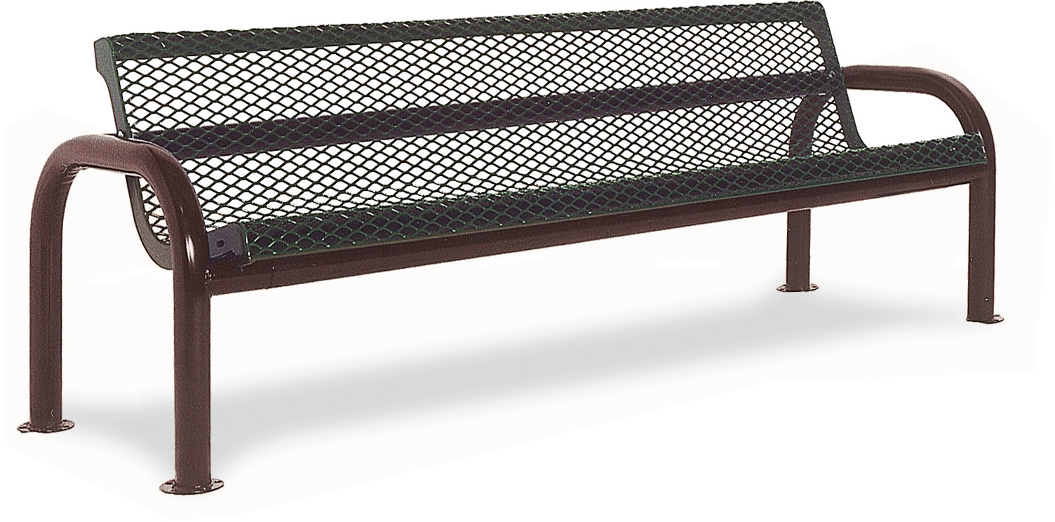 Contour Diamond Pattern Bench With Back