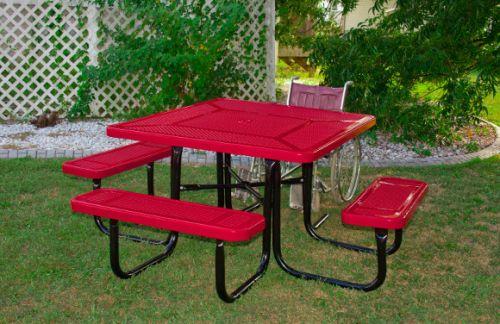 """46"""" Square ADA Perforated Metal Picnic Table"""