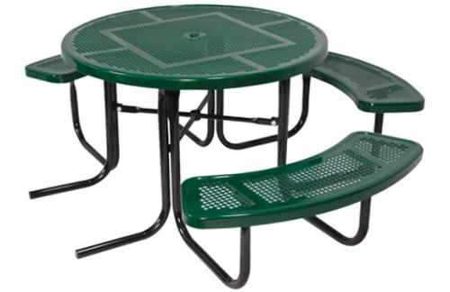 """46"""" Round ADA Perforated Metal Picnic Table - Commercial Playground Equipment - Site Amenities"""