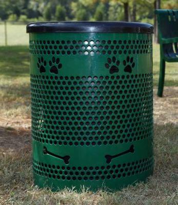 Trash Receptacle w/ Lid & Liner - Dog Park Equipment - American Parks Company