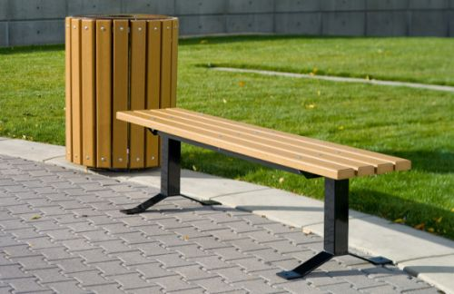 Surface Mount Cedar Bollard Style Bench w/out Back - Commercial Park Equipment