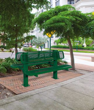 Bollard Style Double Sided Bench
