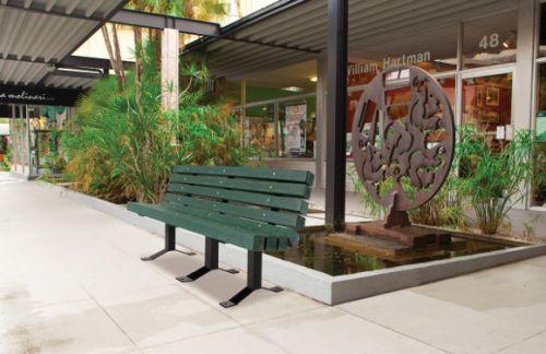 Green 4x4 Bollard-Style Bench w/ Back - Site Furnishings - American Parks Company