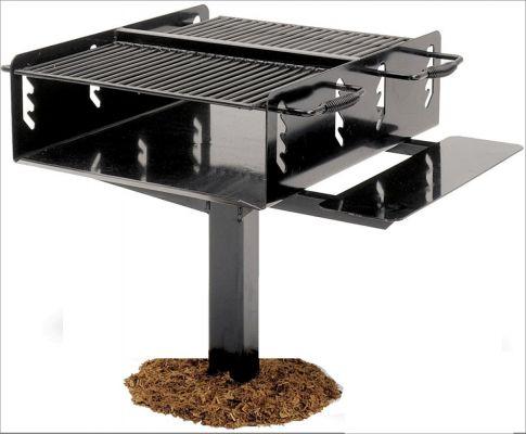 Bi-Level Park Grill With Utility Shelf