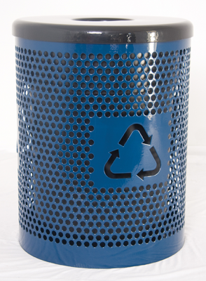 Recycle Logo 32 Gallon Perforated Metal Trash Recptacle with Lid and Liner