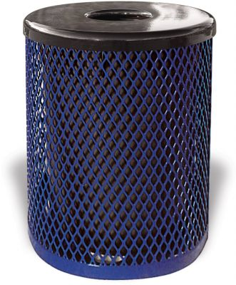 Diamond Pattern Metal Trash Receptacle with Lid and Liner