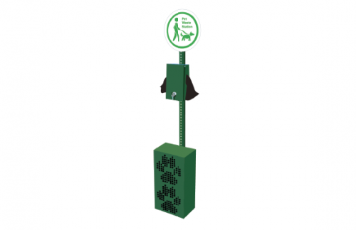 Pet Waste Station with Receptacle - Green