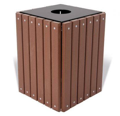 32 Gallon Square Recycled Trash Receptacle w/ Lid & Liner - Site Furnishings - American Parks Company