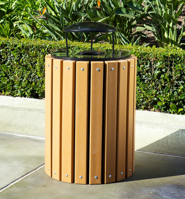 Slatted Wood Trash Recptacle with Liner and Lid