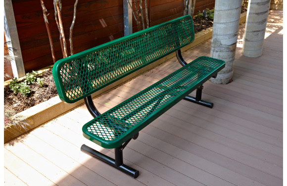 Site Furnishings - Expanded Metal Bench with back - Commercial Playground Equipment