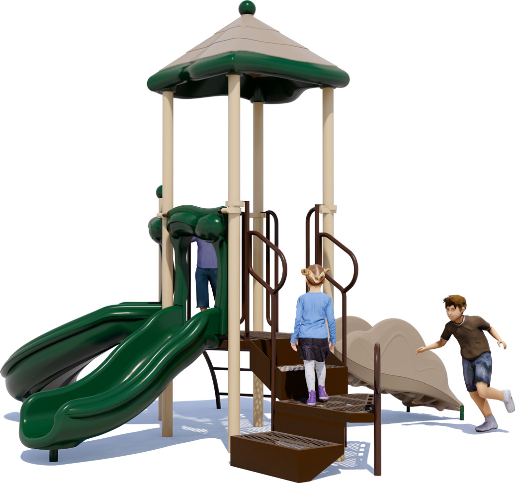 Junior Jam Play Structure - Natural Colors - Rear View