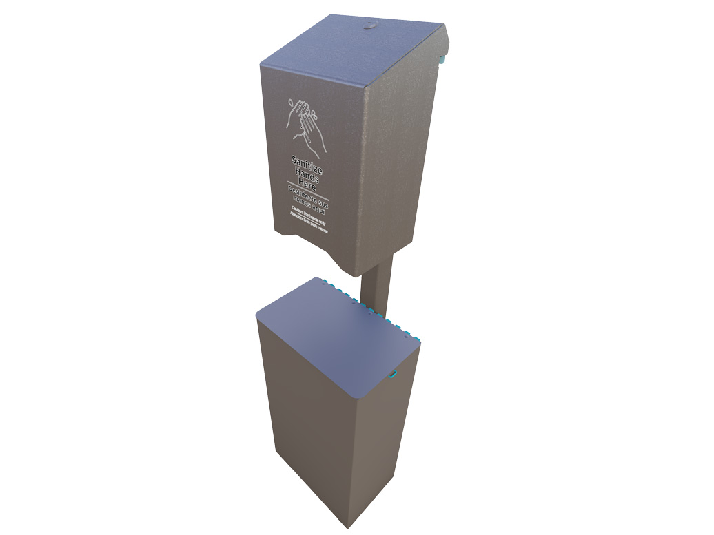 Large Sanitizer Station Post Design with Receptacle - American Parks Company