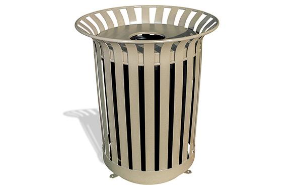 Lexington Trash Receptacle w/Flat Top Lid