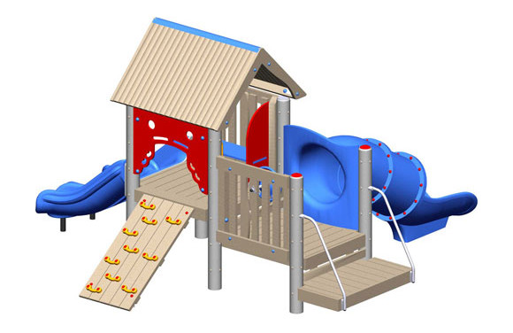 Bungalow - Recycled Play Structure - Commercial Playground Equipment - 3d view