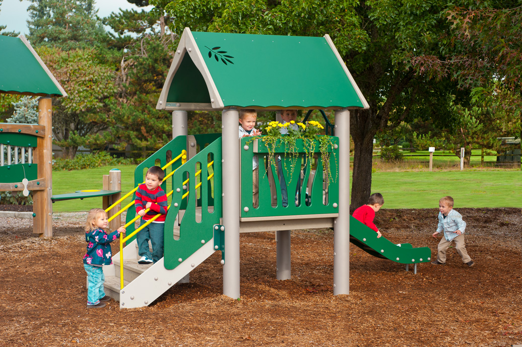 tot town - commercial playground equipment - natural - front