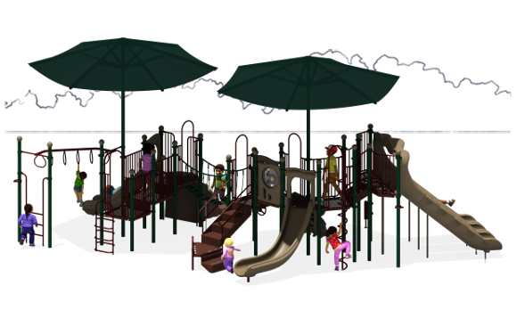 Super Shade - Commercial Play Structure - Natural Color Scheme - Front View