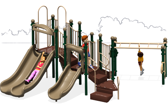 Great Escape - Commercial Play Structures - Natural Color Scheme - Front