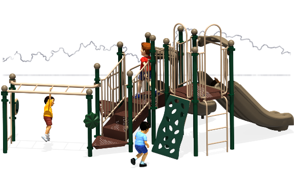 Great Escape - Commercial Play Structures - Natural Color Scheme - Back
