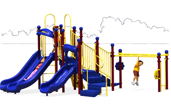 Great Escape - Commercial Play Structures - Primary Color Scheme - Front