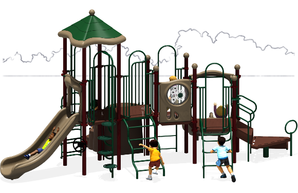 Tons of Fun - Commercial Play Structure - Natural Color Scheme - Back View
