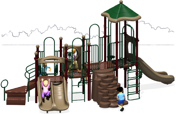 Tons of Fun - Commercial Play Structure - Natural Color Scheme - Front View
