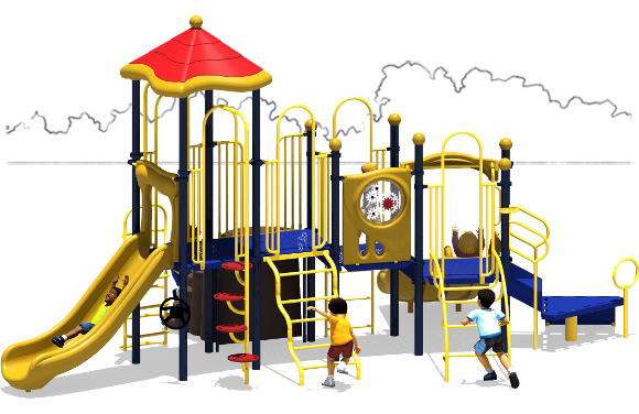 Tons of Fun - Commercial Play Structure - Primary Color Scheme - Back View