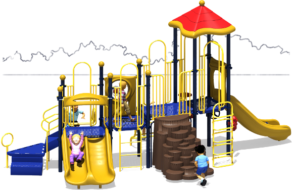 Tons of Fun - Commercial Play Structure - Primary Color Scheme - Front View
