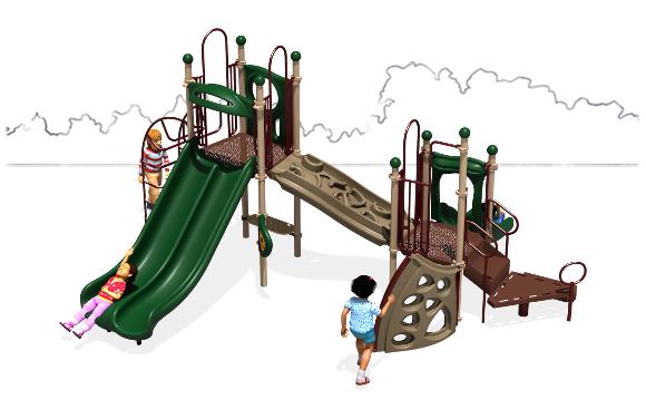 Space Bridge - Natural Color Scheme - Front View - Commercial Play Structure