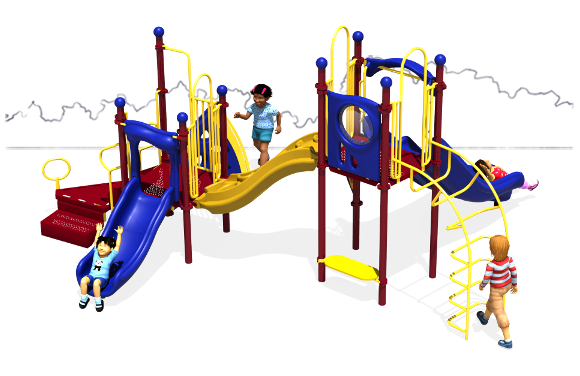 Space Bridge - Primary Color Scheme - Back View - Commercial Play Structure