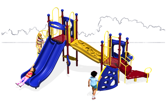 Space Bridge - Primary Color Scheme - Front View - Commercial Play Structure