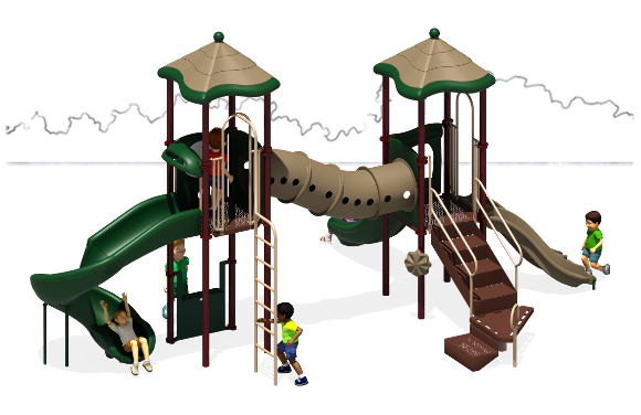 The Metro Commercial Play Structure - Back View - Natural Color Scheme
