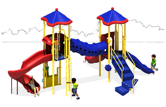 The Metro Commercial Play Structure - Back View - Primary Color Scheme