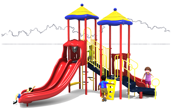 Primary Color Scheme - Front View - Clown Around - Commercial Playground Equipment - American Parks Company