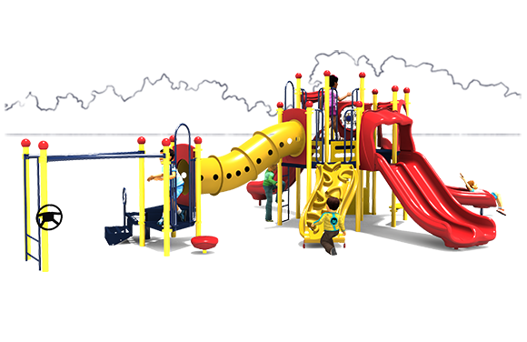 Celebration Station Play Structure - Primary Color Scheme - Front View